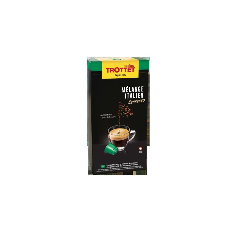 Cafés Trottet 10 Capsules Mélange Italien Espresso Pour Nespresso® Cafés Trottet