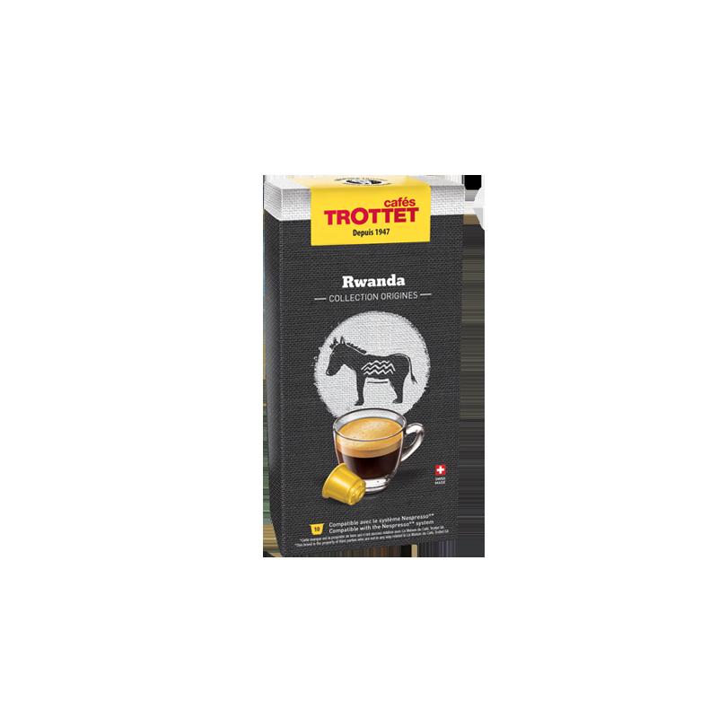 Cafés Trottet 10 Capsules Rwanda Compatibles Nespresso® Cafés Trottet