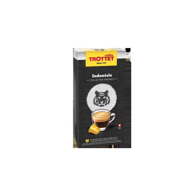 Cafés Trottet 10 Capsules Indonésie Compatibles Nespresso® Cafés Trottet