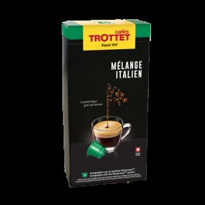 10 Capsules Mélange Italien Compatibles Nespresso® Cafés Trottet