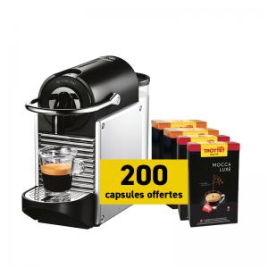 Delonghi Nespresso®* Pixie Silver et 200 capsules