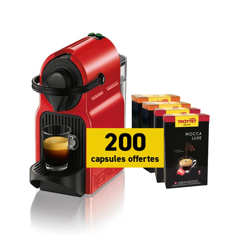 Krups Nespresso®* Inissia Rouge et 200 capsules