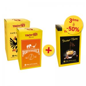 2 cafés spéciaux achetés, 3e à 50%